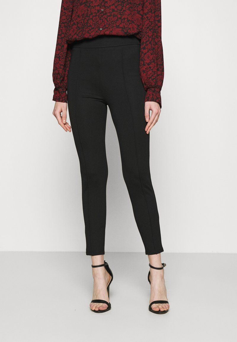 Even&Odd - TAILORED PUNTO PANTS WITH PINTUCKS  - Trousers - black