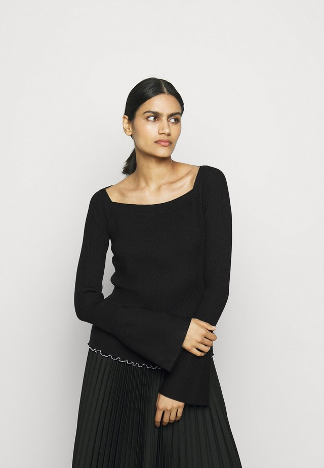 OPEN NECK SWEATER - Trui - black
