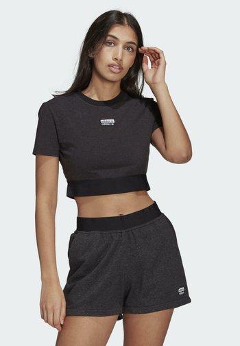 R.Y.V. CROP TOP - Print T-shirt - black