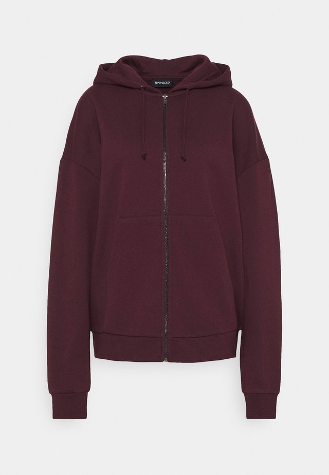 Oversized Zip Through Hoodie Jacket - Zip-up hoodie - bordeaux