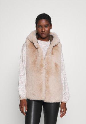 COMING REVERSIBLE - Waistcoat - light beige/dark khaki