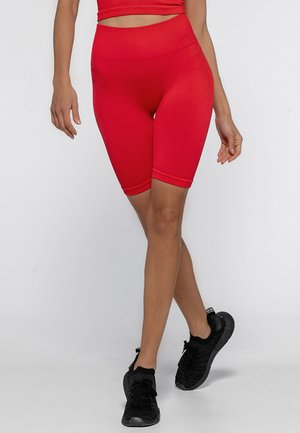 SHINY RIBBED - Shorts - bright red