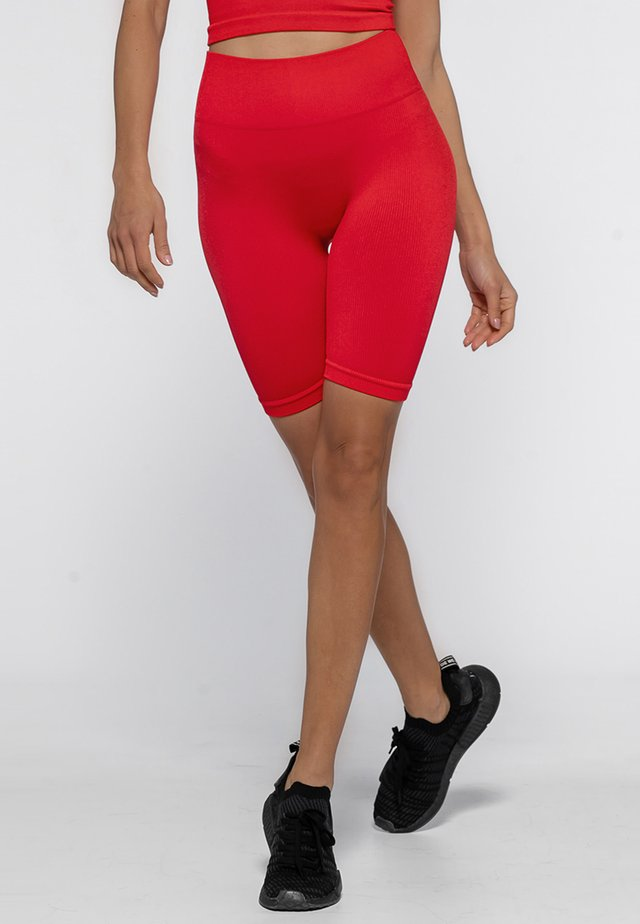 SHINY RIBBED - Short - bright red