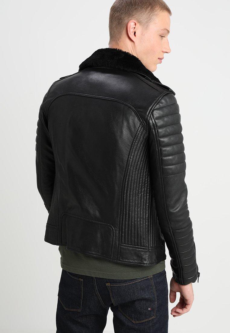 HIPSTER SHEARLING Leren jas black