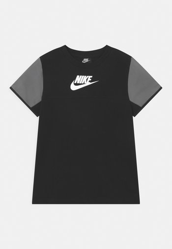 MIXED MATERIAL - Print T-shirt - black/white