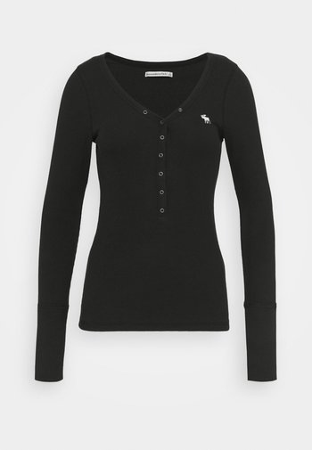 ICON HENLEY - Long sleeved top - black