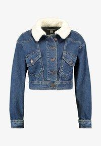 Topshop - CROP BORG JACKET - Denim jacket - blue denim - 3