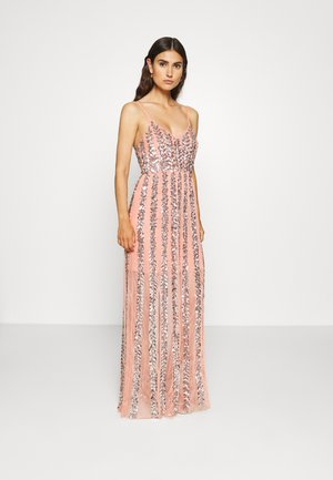 ALL OVER EMBELLISHED CAMI MAXI - Vestido de fiesta - coral