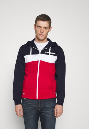 Zip-up hoodie - navy blue/red/white