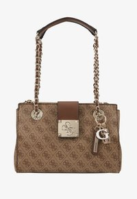 Guess - LOGO CITY SML SOCIETY SATCHEL - Handtas - brown - 5
