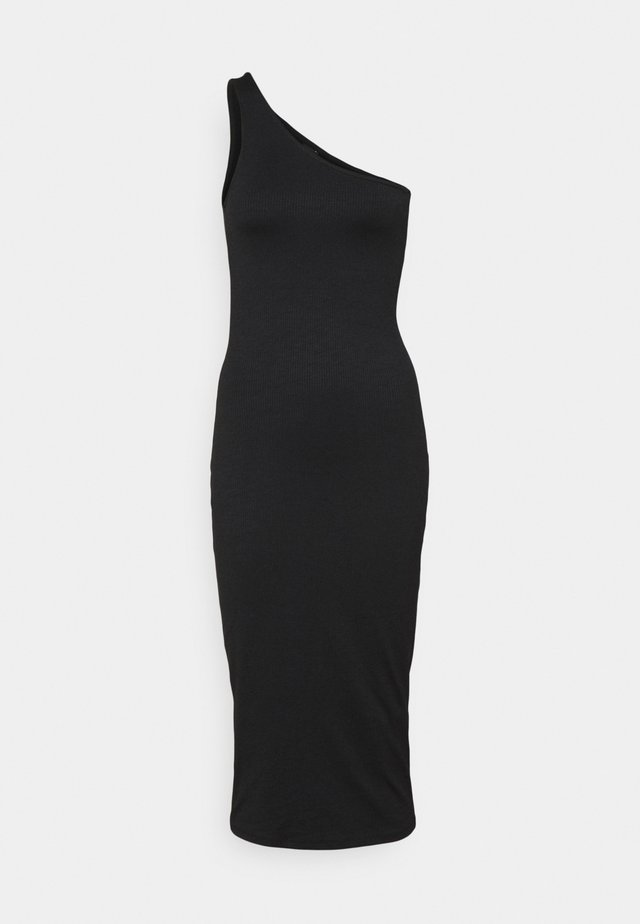 JOLINE ONE SHOULDER DRESS - Vestito di maglina - black