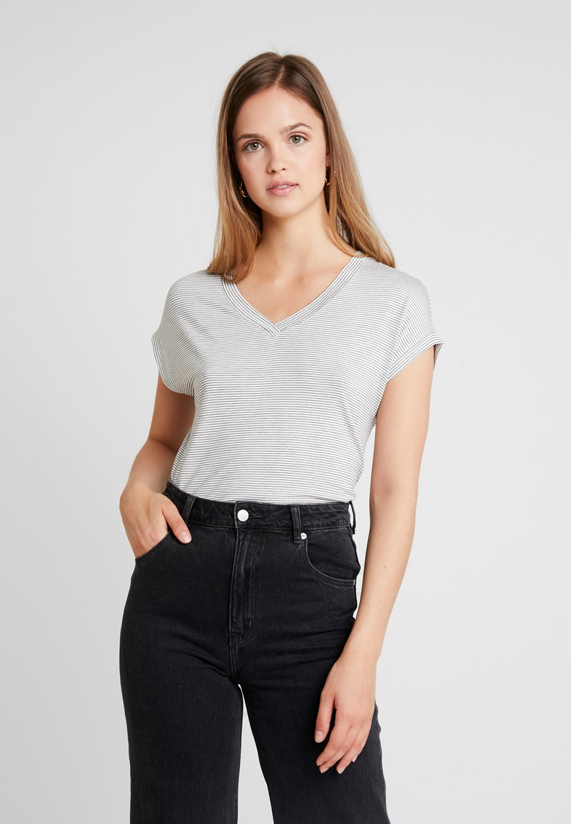 ONLY - ONLTINA STRIPE V NECK - Print T-shirt - cloud dancer/black