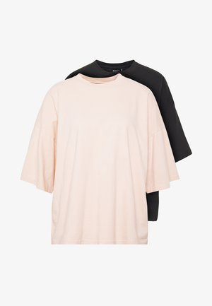 DROP SHOULDER OVERSIZED 2 PACK - Basic T-shirt - black/pink