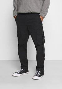 Topman - WEBBING - Cargo trousers - black - 0