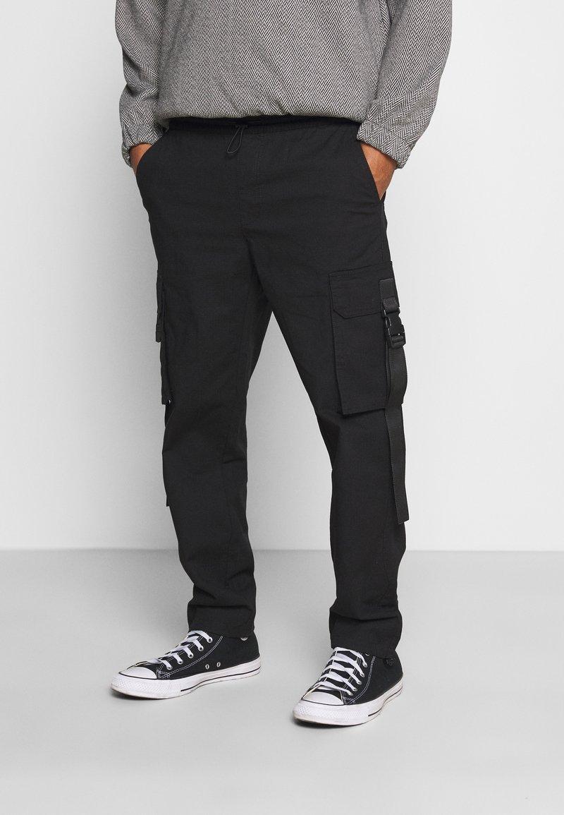Topman - WEBBING - Cargo trousers - black