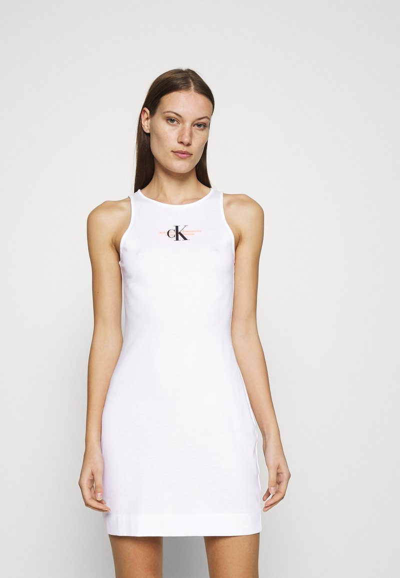 Calvin Klein Jeans - URBAN LOGO TANK DRESS - Jersey dress - bright white