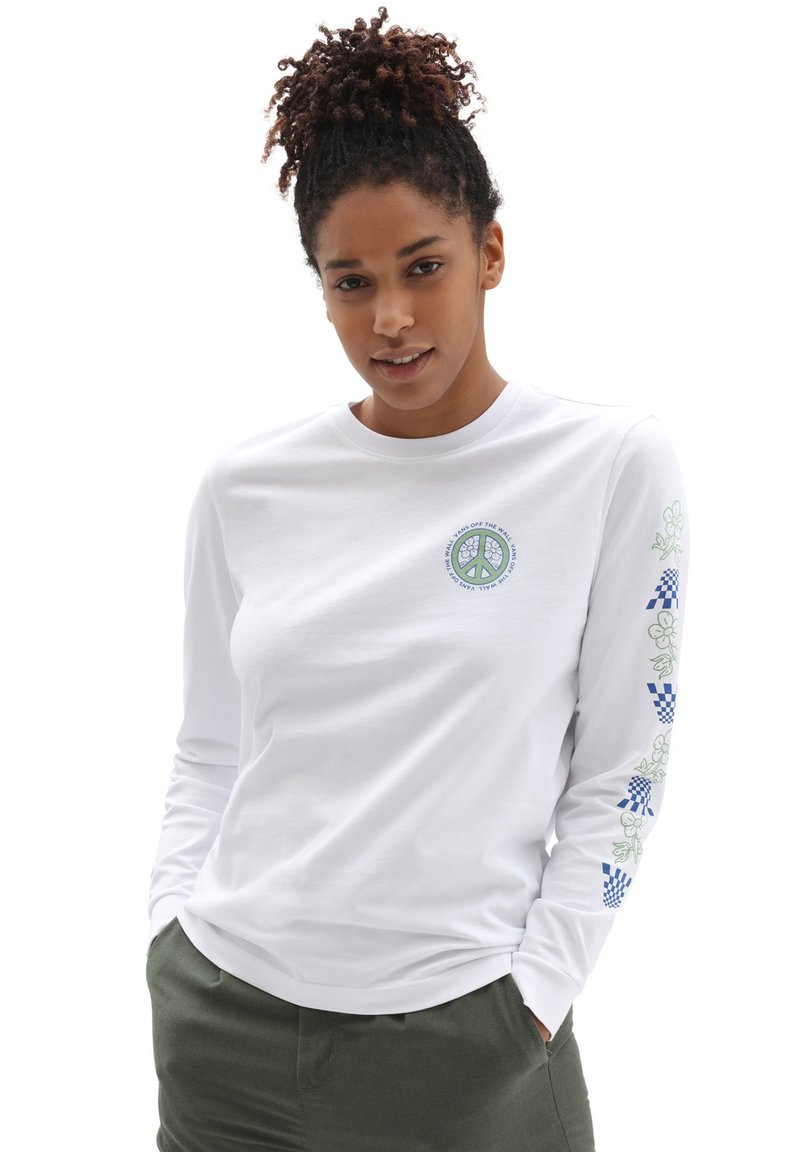 Vans - WM PEACE PROPERTY LS BF - Long sleeved top - white