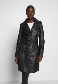 Freaky Nation - LEDER TRENCH COAT - Kožená bunda - shadow - 0