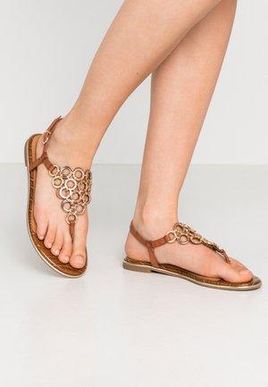 T-bar sandals - brandy