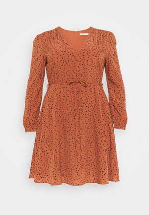 LONGSLEEVE TEA DRESS - Robe d'été - rust/black