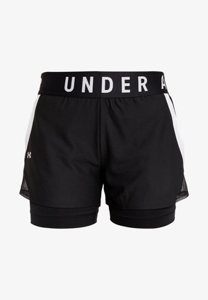 PLAY UP 2 IN 1 SHORTS - Sports shorts - black/white