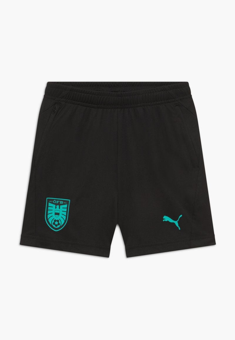 Puma - ÖSTERREICH ÖFB TRAINING ZIP POCKETS - Sports shorts - black/blue turquoise