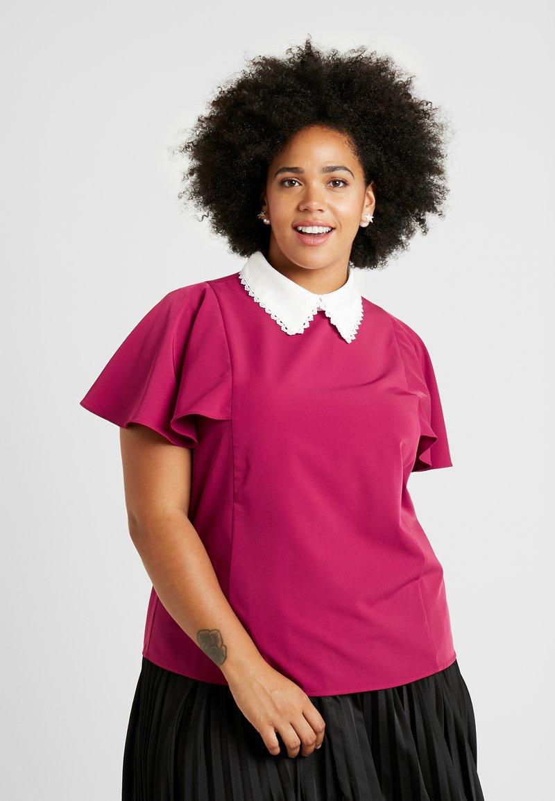 Fashion Union Plus - COLLARED BLOUSE - Bluse - solid bordeaux