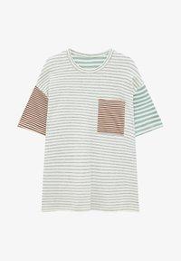 GESTREIFTES PATCHWORK - Print T-shirt - white
