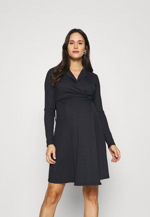 COLLARED WRAP MINI DRESS - Jersey dress - navy