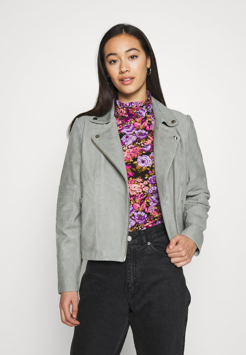 YAS - YASMOUSSE JACKET - Leather jacket - shadow