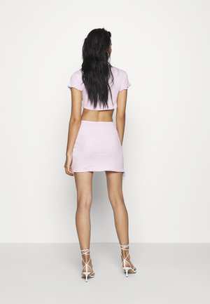 HEART CUT OUT JERSEY LACE UP MINI SKIRT - Minifalda - pink