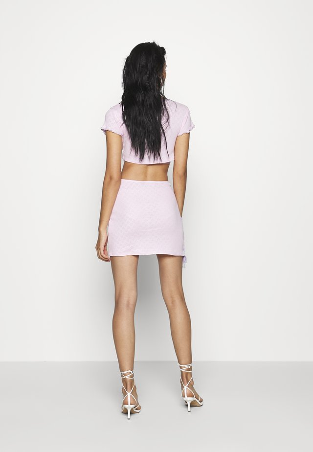 HEART CUT OUT JERSEY LACE UP MINI SKIRT - Miniskjørt - pink