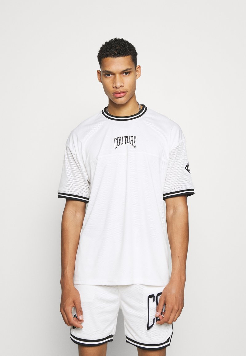 The Couture Club - VARSITY BADGED MESH OVERSIZED T-SHIRT - Print T-shirt - white