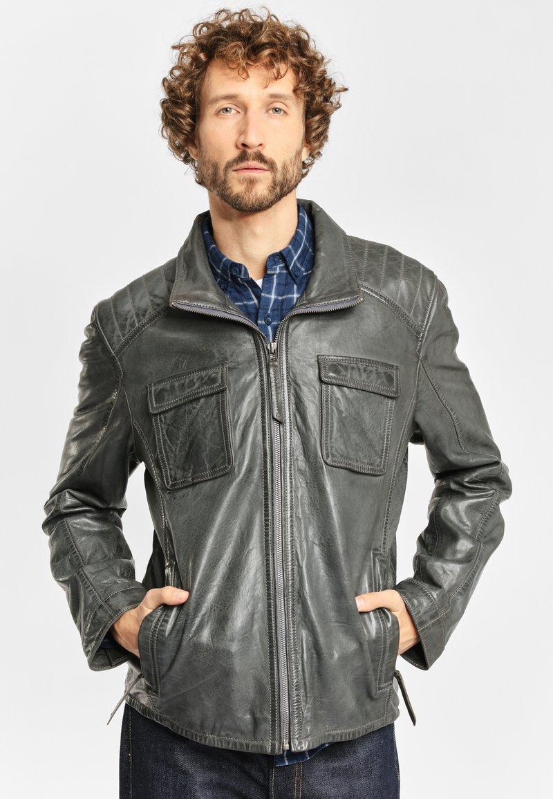 deercraft - LEDERJACKE DAWN NSLV - Veste en cuir - dark grey