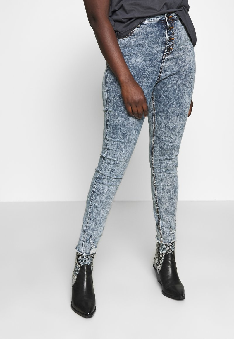 Simply Be - HIGH WAIST BUTTON FLY - Jeans Skinny Fit - blue acid
