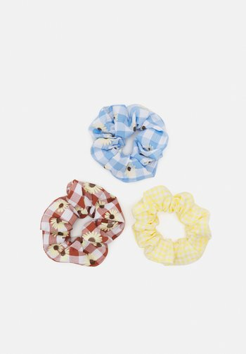 PCINARI 3 PACK SCRUNCHIE - Hair styling accessory - dusky citron/flower/red