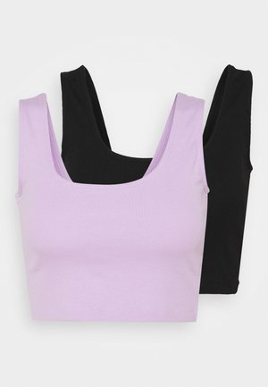 SQUARE NECK CROP 2 PACK - Débardeur - black/lilac