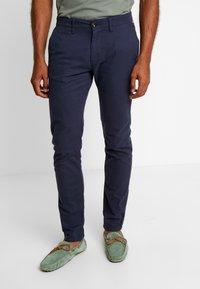 TOM TAILOR - Chino kalhoty - navy yarn dye structure - 0