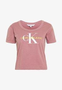 Calvin Klein Jeans - VEGETABLE DYE MONOGRAM BABY TEE - Print T-shirt - brandied apricot - 3