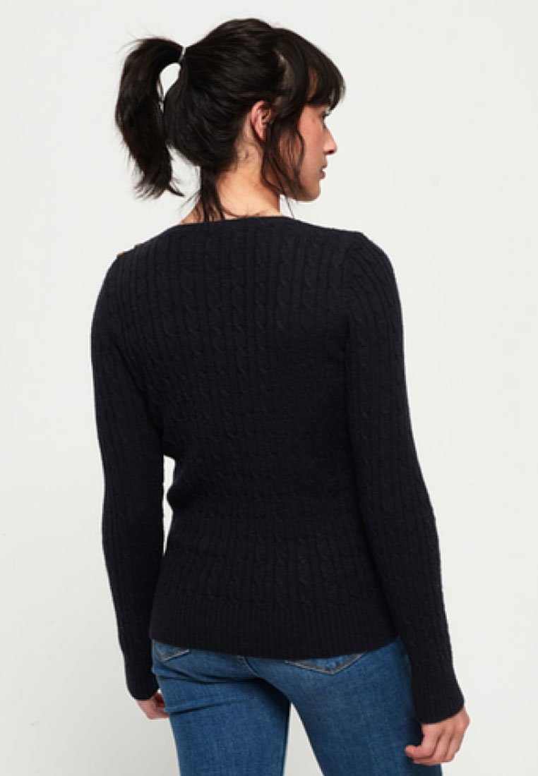 Superdry CROYDE CABLE - Strickpullover - navy blue/royal aLqcdw