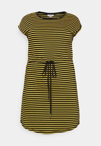 CARAPRIL KNEE DRESS STRIPE - Vestido ligero - black/double yolk yellow