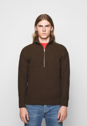 ZIPPED JUMPER - Pullover - chocolate brown