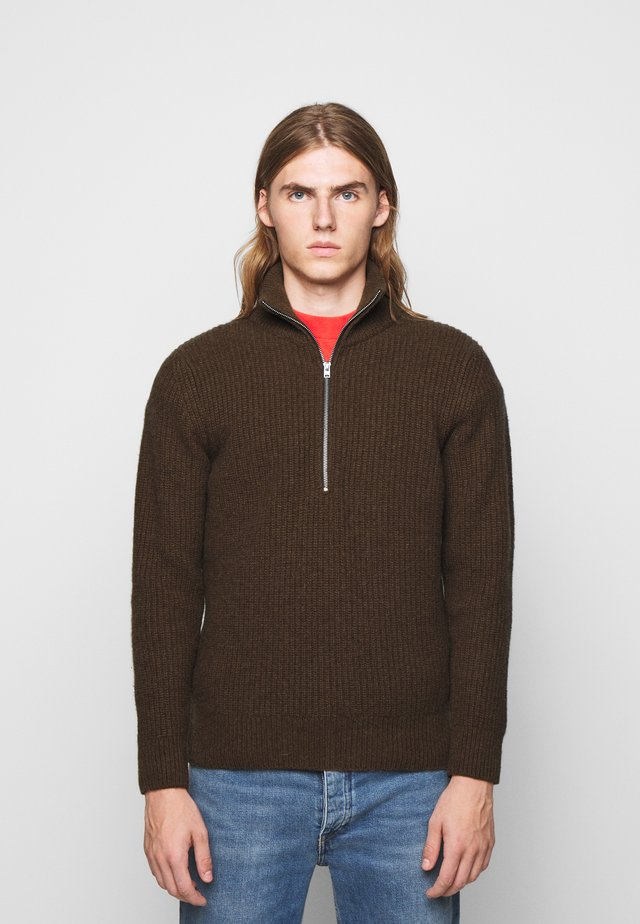 ZIPPED JUMPER - Jersey de punto - chocolate brown