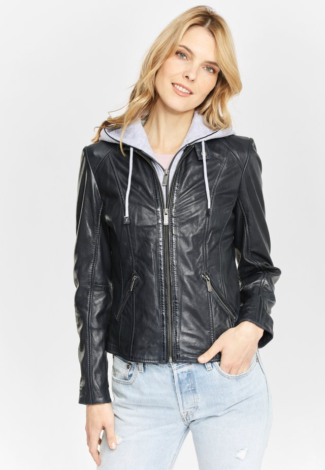 LEDERJACKE DROPPY NSLONTV - Leather jacket - light navy