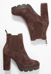 Anna Field Select - LEATHER HIGH HEELED ANKLE BOOTS - High heeled ankle boots - brown - 3