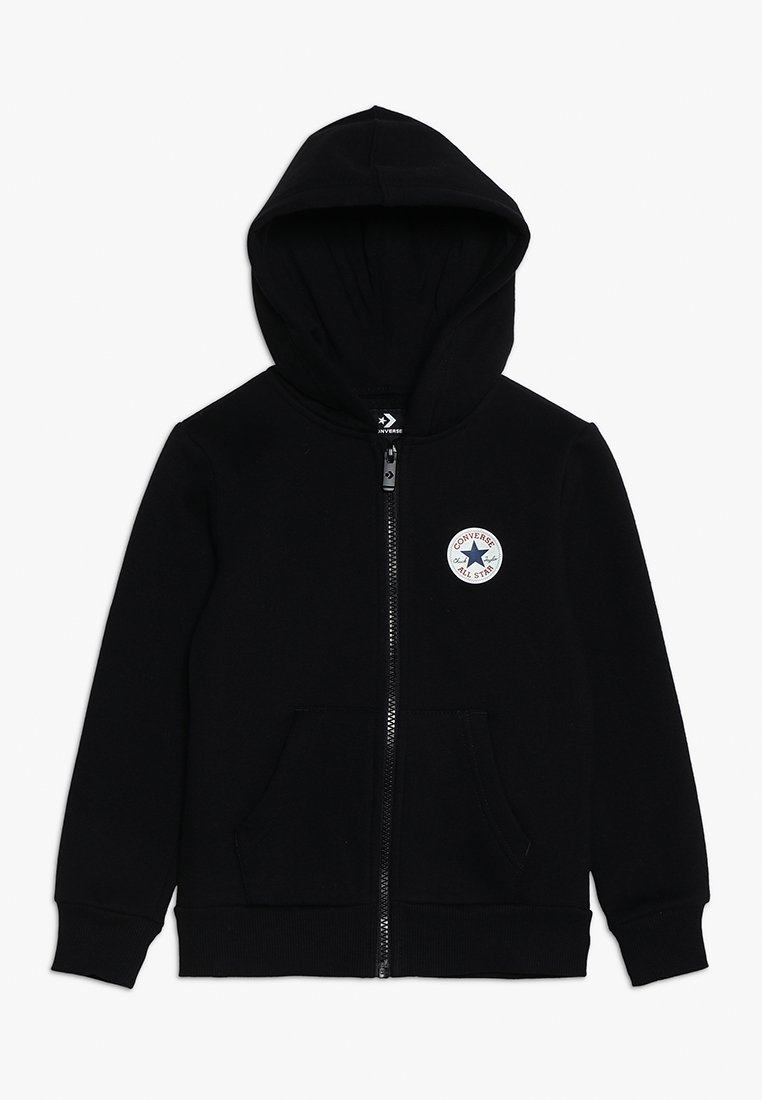 Converse - CHUCK PATCH FULL ZIP HOODIE  - Felpa aperta - black