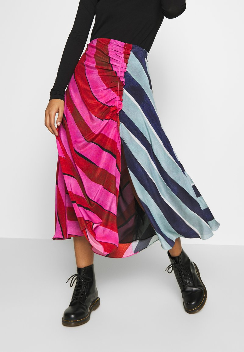 House of Holland - STRIPE GATHERED MIDI SKIRT  - A-line skirt - pink/blue