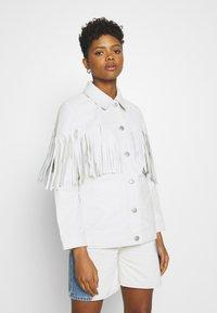 Topshop - ROY FRINGE JACKET - Leather jacket - white - 0