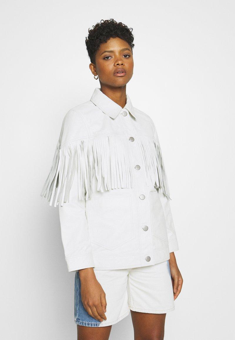 Topshop - ROY FRINGE JACKET - Leather jacket - white