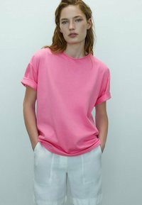 Massimo Dutti - T-shirt basic - neon pink - 0